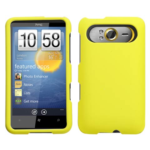 Yellow Rubberized Hard Case for HTC HD7