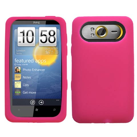 Hot Pink Silicone Skin Cover for HTC HD7