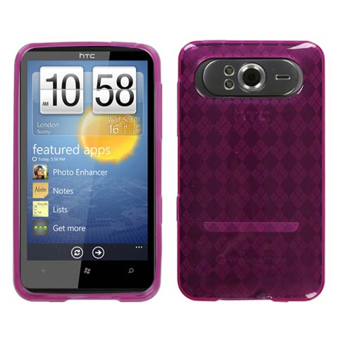 Pink Argyle TPU Case for HTC HD7