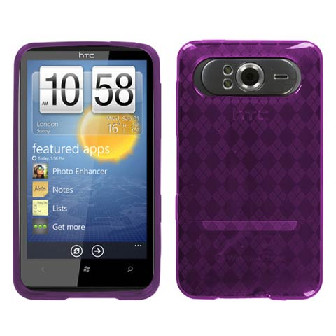 Purple Argyle TPU Case for HTC HD7