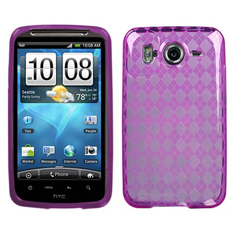 Purple Argyle TPU Case for HTC Inspire 4G