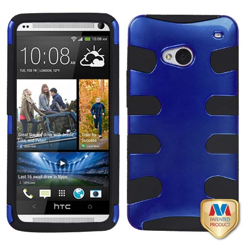 Blue Hybrid Fishbone Case for HTC One
