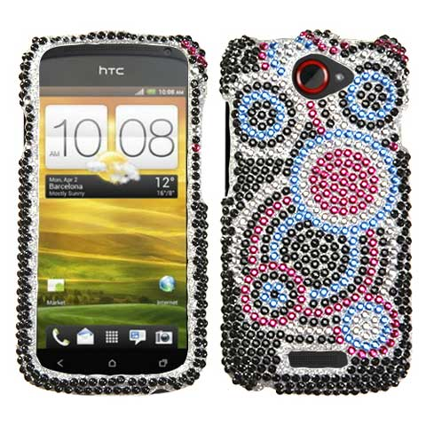 Blue Circles Crystal Rhinestones Bling Case for HTC One S