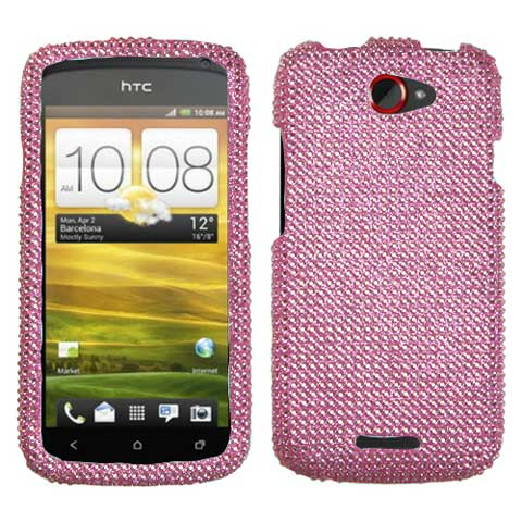 Pink Crystal Rhinestones Bling Case for HTC One S