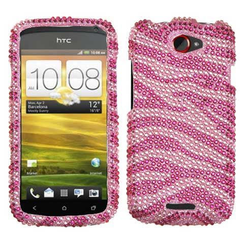 Pink Zebra Crystal Rhinestones Bling Case for HTC One S