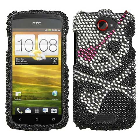 Pirate Skull Crystal Rhinestones Bling Case for HTC One S