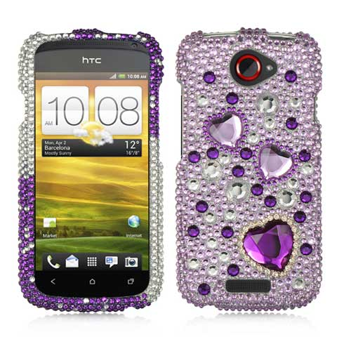 Purple Hearts Crystal Rhinestones Bling Case for HTC One S