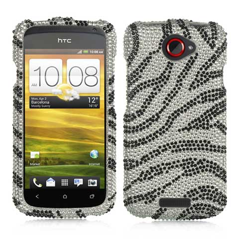 Zebra Crystal Rhinestones Bling Case for HTC One S