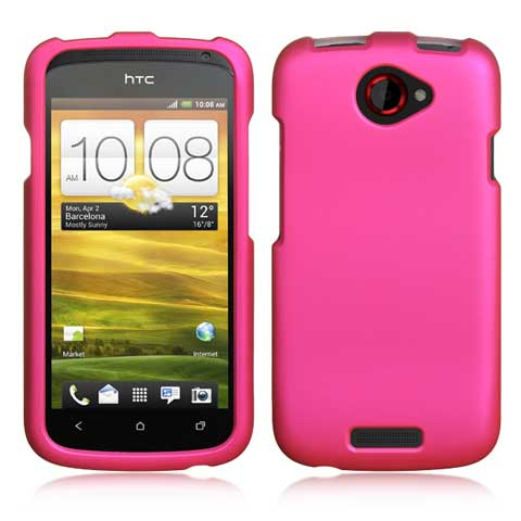 Hot Pink Rubberized Hard Case for HTC One S