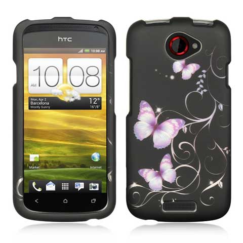 Purple Butterflies Rubberized Hard Case for HTC One S