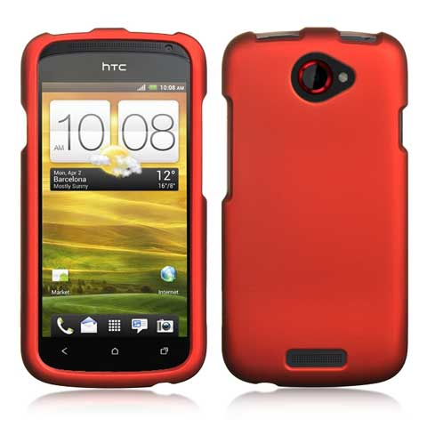 Red Rubberized Hard Case for HTC One S