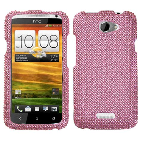 Pink Crystal Rhinestones Bling Case for HTC One X