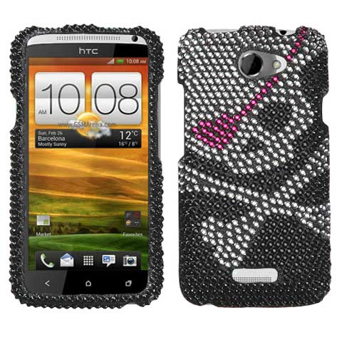 Pirate Skull Crystal Rhinestones Bling Case for HTC One X
