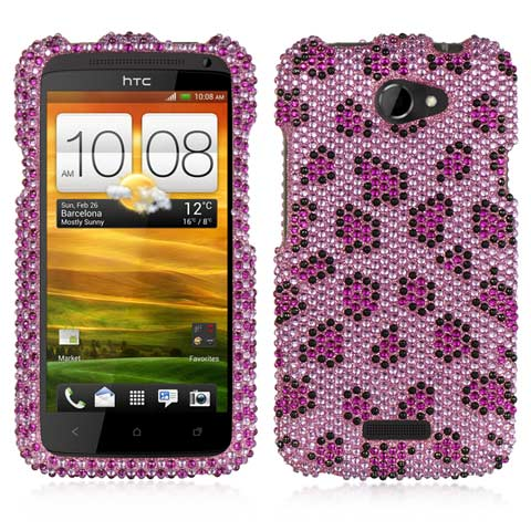 Purple Leopard Crystal Rhinestones Bling Case for HTC One X