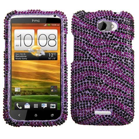 Purple Zebra Crystal Rhinestones Bling Case for HTC One X