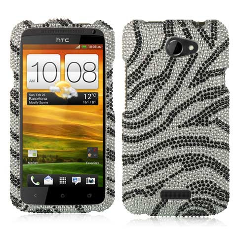 Zebra Crystal Rhinestones Bling Case for HTC One X