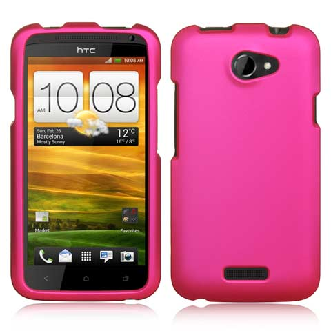 Hot Pink Rubberized Hard Case for HTC One X