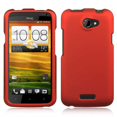 Red Rubberized Hard Case for HTC One X