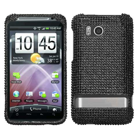 Black Crystal Rhinestones Bling Case for HTC ThunderBolt