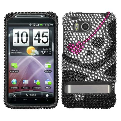 Pirate Skull Crystal Rhinestones Bling Case for HTC ThunderBolt