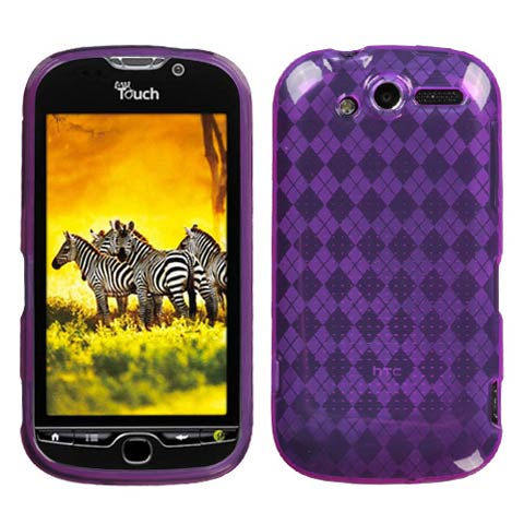 Purple Argyle TPU Case for HTC myTouch 4G