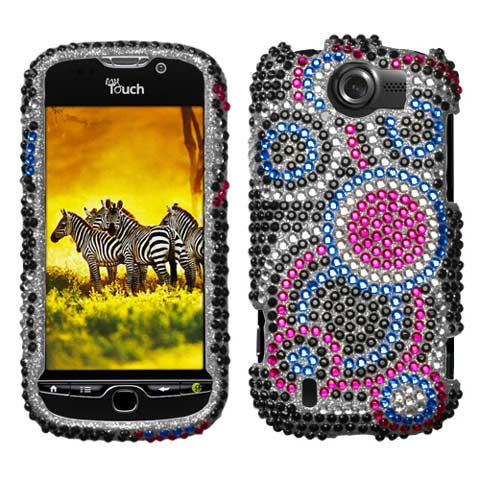 Blue Circles Crystal Rhinestones Bling Case for HTC myTouch 4G Slide