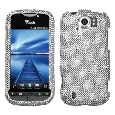 Silver Crystal Rhinestones Bling Case for HTC myTouch 4G Slide