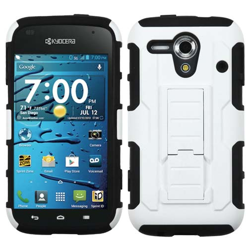 White on Black Lightspeed Dual Layer Hybrid Case for Kyocera Hydro Edge