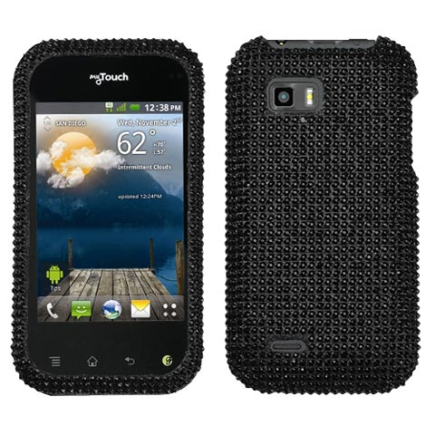 Black Crystal Rhinestones Bling Case for LG T-Mobile myTouch Q
