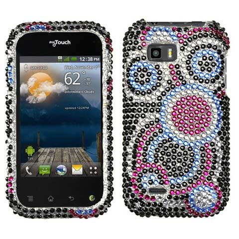 Blue Circles Crystal Rhinestones Bling Case for LG T-Mobile myTouch Q