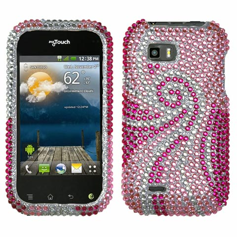 Pink Swirl Crystal Rhinestones Bling Case for LG T-Mobile myTouch Q