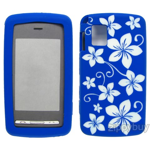 LG Vu CU920 Silicone Skin Cover Case - Blue with Flowers