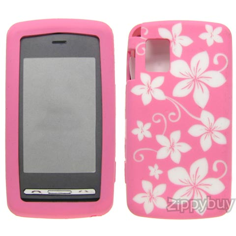 LG Vu CU920 Silicone Skin Cover Case - Pink with Flowers