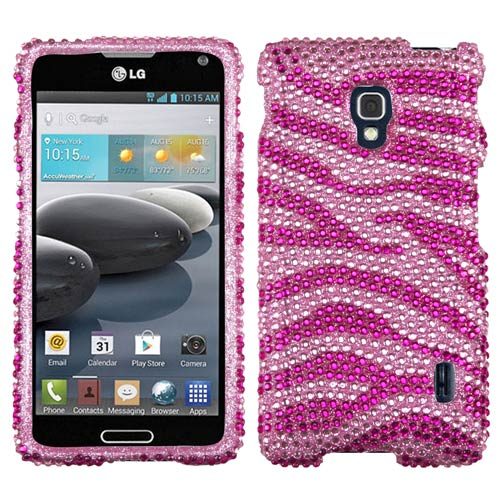 Pink Zebra Crystal Rhinestone Bling Case for LG Optimus F6