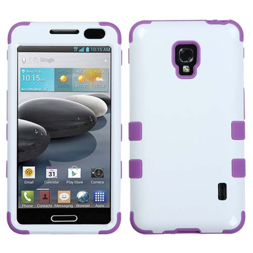 Purple and White Synergy Hybrid Case for LG Optimus F6