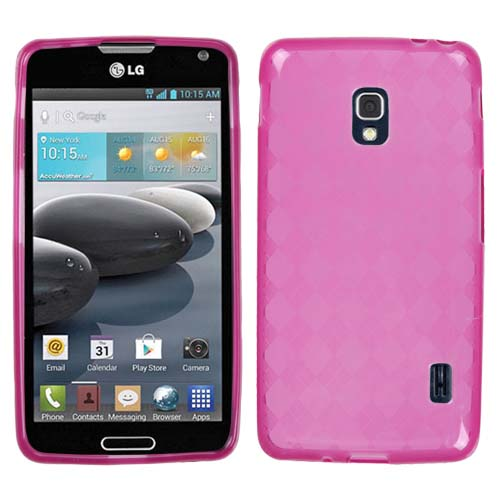 Pink Argyle TPU Cover for LG Optimus F6