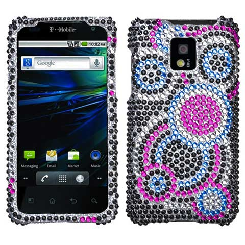 Blue Circles Crystal Rhinestones Bling Case for LG G2x