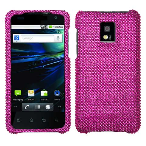 Hot Pink Crystal Rhinestones Bling Case for LG G2x