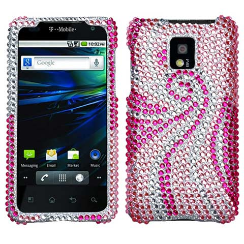 Pink Swirl Crystal Rhinestones Bling Case for LG G2x