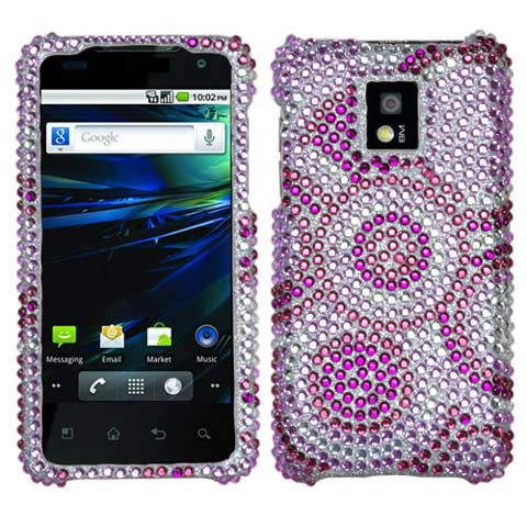 Purple Circles Crystal Rhinestones Bling Case for LG G2x