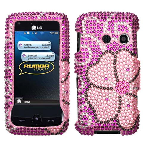 Pink Flower Crystal Rhinestones Bling Case for LG Banter Touch