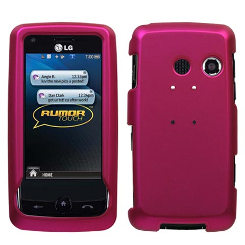 Hot Pink Rubberized Hard Case for LG Rumor Touch