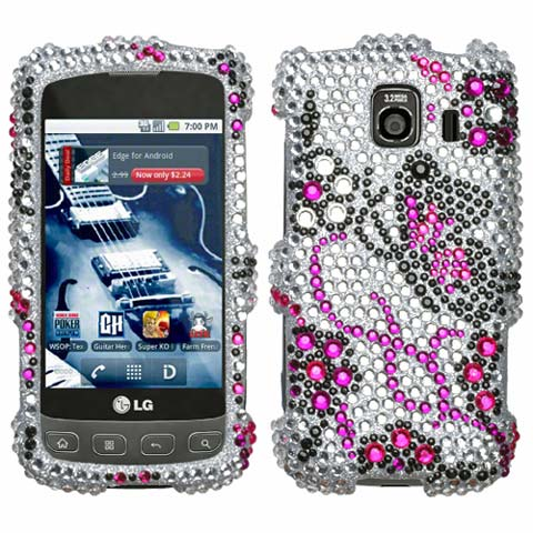 Butterflies Crystal Rhinestones Bling Case for LG Optimus V