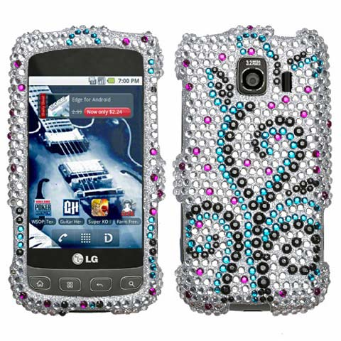 Frosty Curls Crystal Rhinestones Bling Case for LG Optimus V