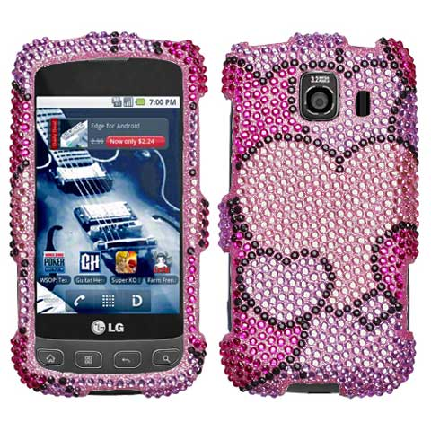 Full Of Heart Crystal Rhinestones Bling Case for LG Optimus V