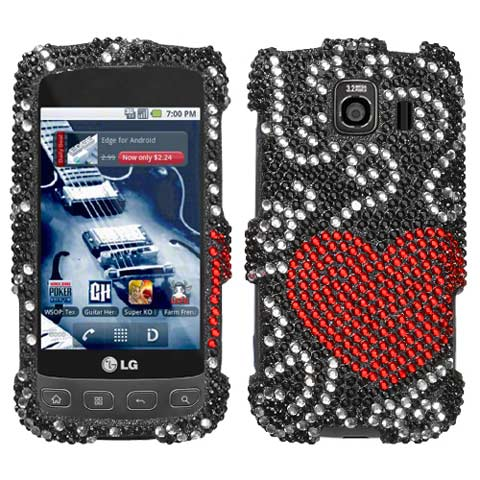 Heart Flutter Crystal Rhinestones Bling Case for LG Optimus V