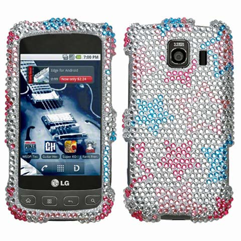 Silver Stars Crystal Rhinestones Bling Case for LG Optimus V
