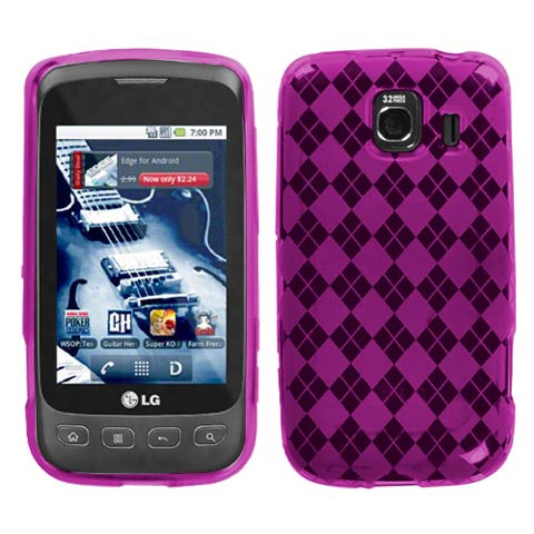 Hot Pink Argyle TPU Case for LG Optimus V