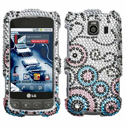 Bubble Flow Crystal Rhinestones Bling Case for LG Optimus V