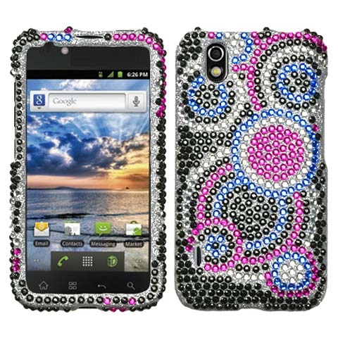 Blue Circles Crystal Rhinestones Bling Case for LG Marquee